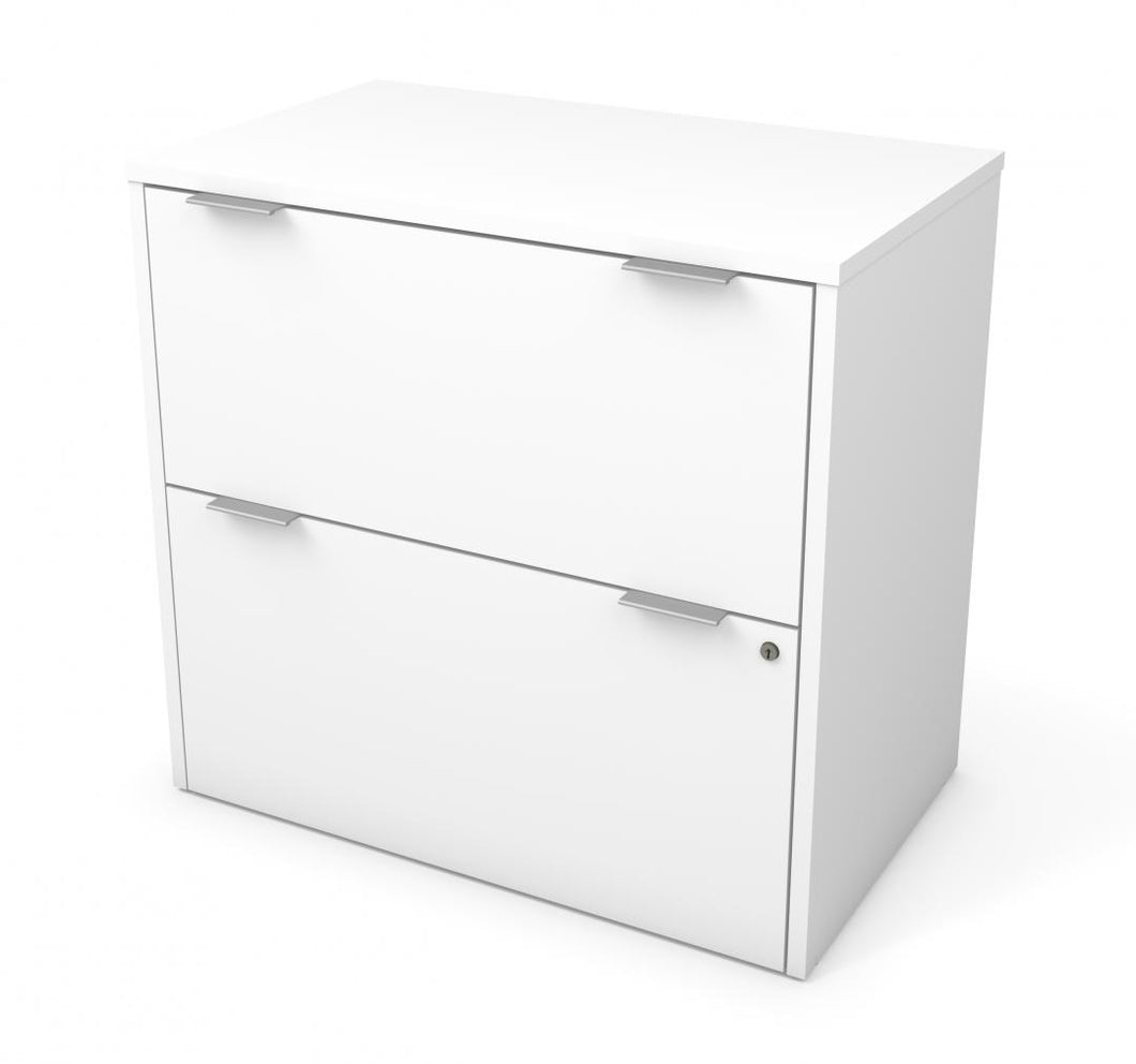 Modern White Locking Lateral File Cabinet