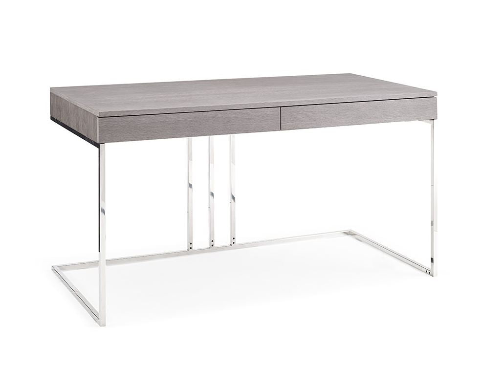 "Gray and Stainless Steel 55"" Modern Desk"