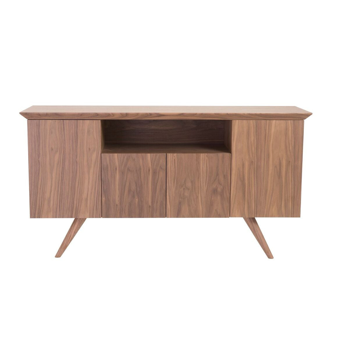 "Elegant 63"" Walnut Credenza with Glass Shelves"