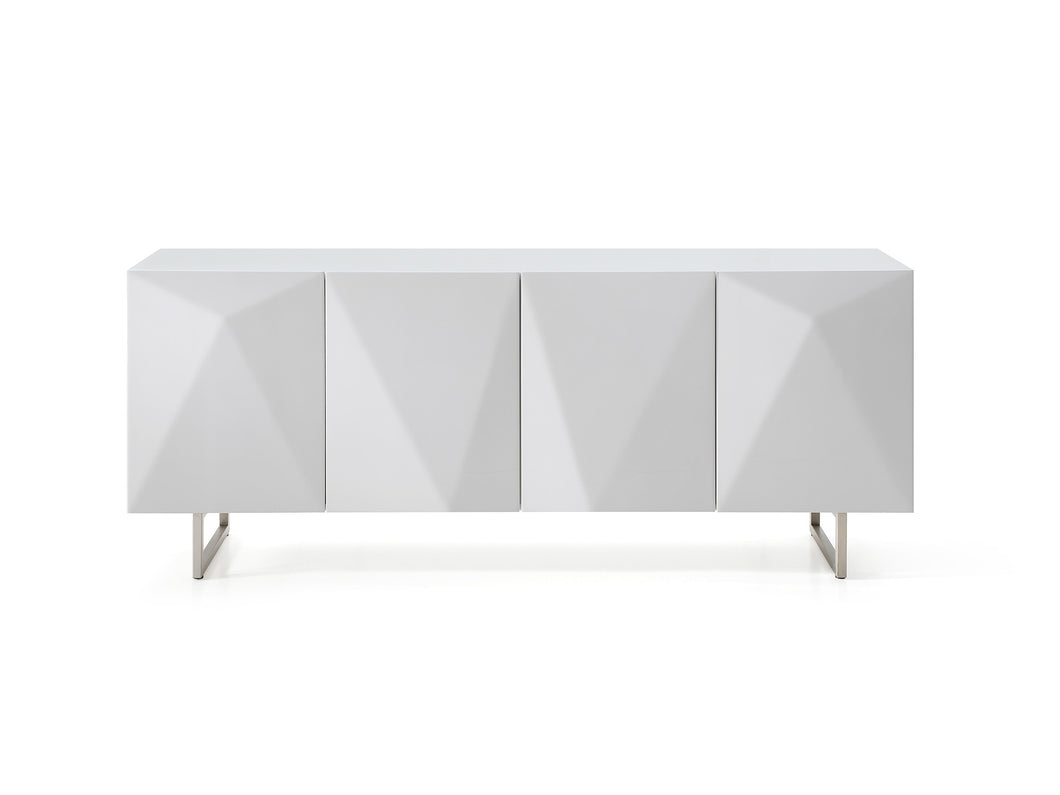 High Gloss White Storage Credenza with Tempered Glass Top