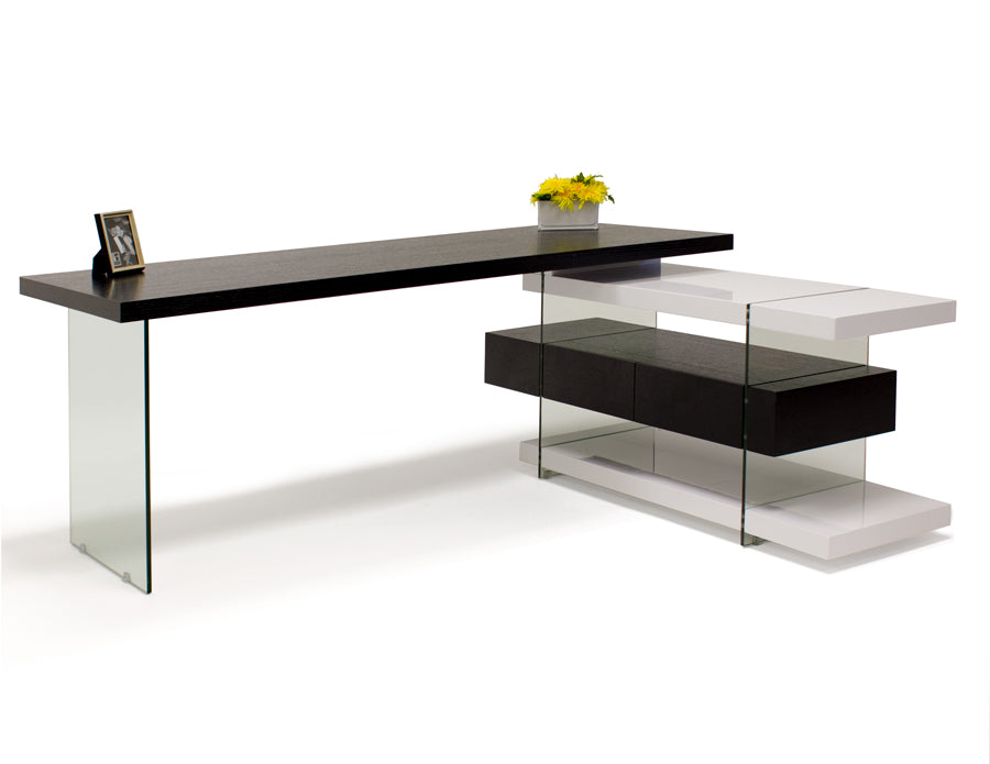 Modern Wenge & White Lacquer L-shaped Desk with Glass Legs