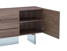 "Load image into Gallery viewer, Stunning 79"" Walnut Storage Credenza with Drawers and Glass Base"