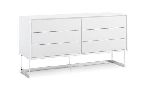 Modern White High-Gloss Storage Credenza
