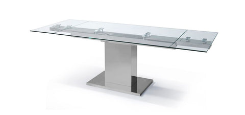 "Modern Stainless Steel & Glass Conference Table or Executive Desk (Extends from 55"" to 83"" W)"
