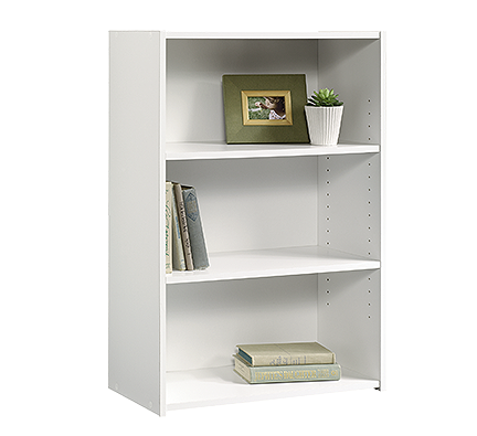 "3-Shelf 35"" Tall Bookcase in Soft White Finish"