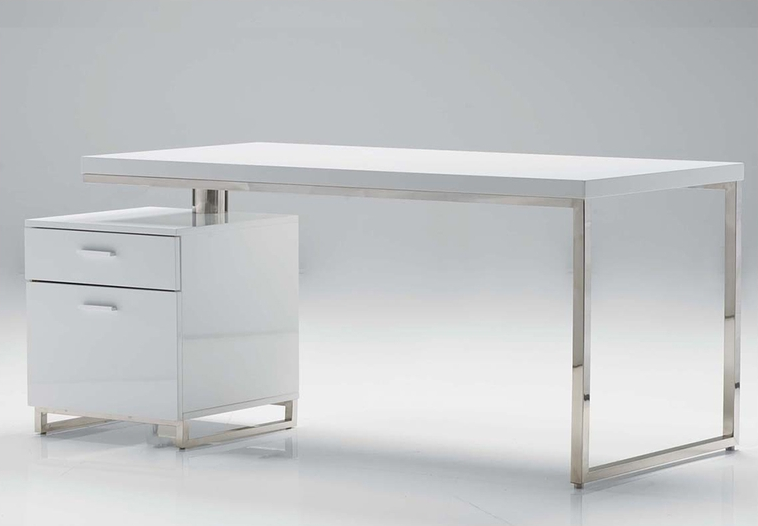 63 Quot White Lacquer Desk With Integrated File Cabinet