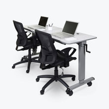 "Load image into Gallery viewer, 59"" White Flip-Top Workstation or Sit-Stand Office Desk"