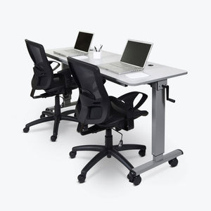 "59"" White Flip-Top Workstation or Sit-Stand Office Desk"