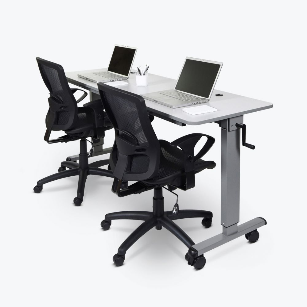 "71"" White Flip-Top Workstation or Sit-Stand Office Desk"