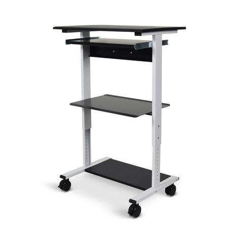 "Black & White 30"" Mobile Workstation or Desk w/ 3 Shelves"