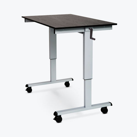 "Ergonomic 59"" Black Oak Veneer Sit-Stand Office Desk"