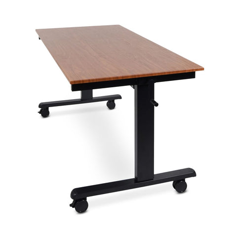 "Ergonomic 59"" Teak Veneer Sit-Stand Office Desk"