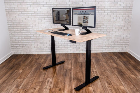 "59"" White Oak Sit-Stand Office Desk w/ Push-Button Lift"