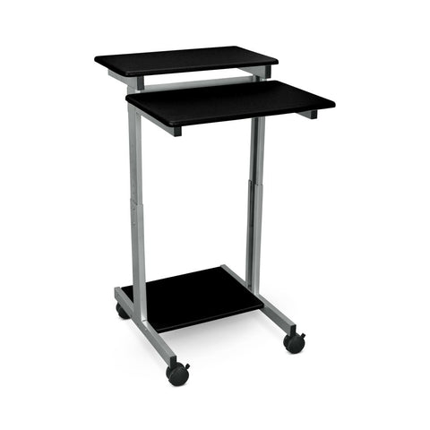 "Classic 24"" Sit-Stand Mobile Desk or Presentation Lectern in Black Wood Veneer"