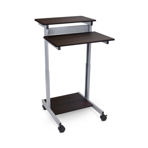"Classic 32"" Sit-Stand Mobile Desk or Presentation Lectern in Dark Walnut Veneer"