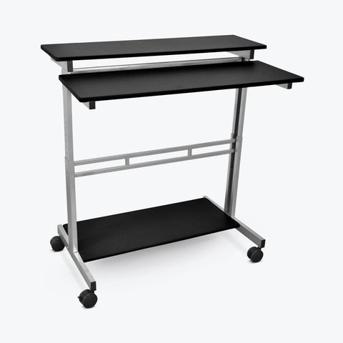 "Classic 40"" Sit-Stand Mobile Desk or Presentation Lectern in Black Veneer"