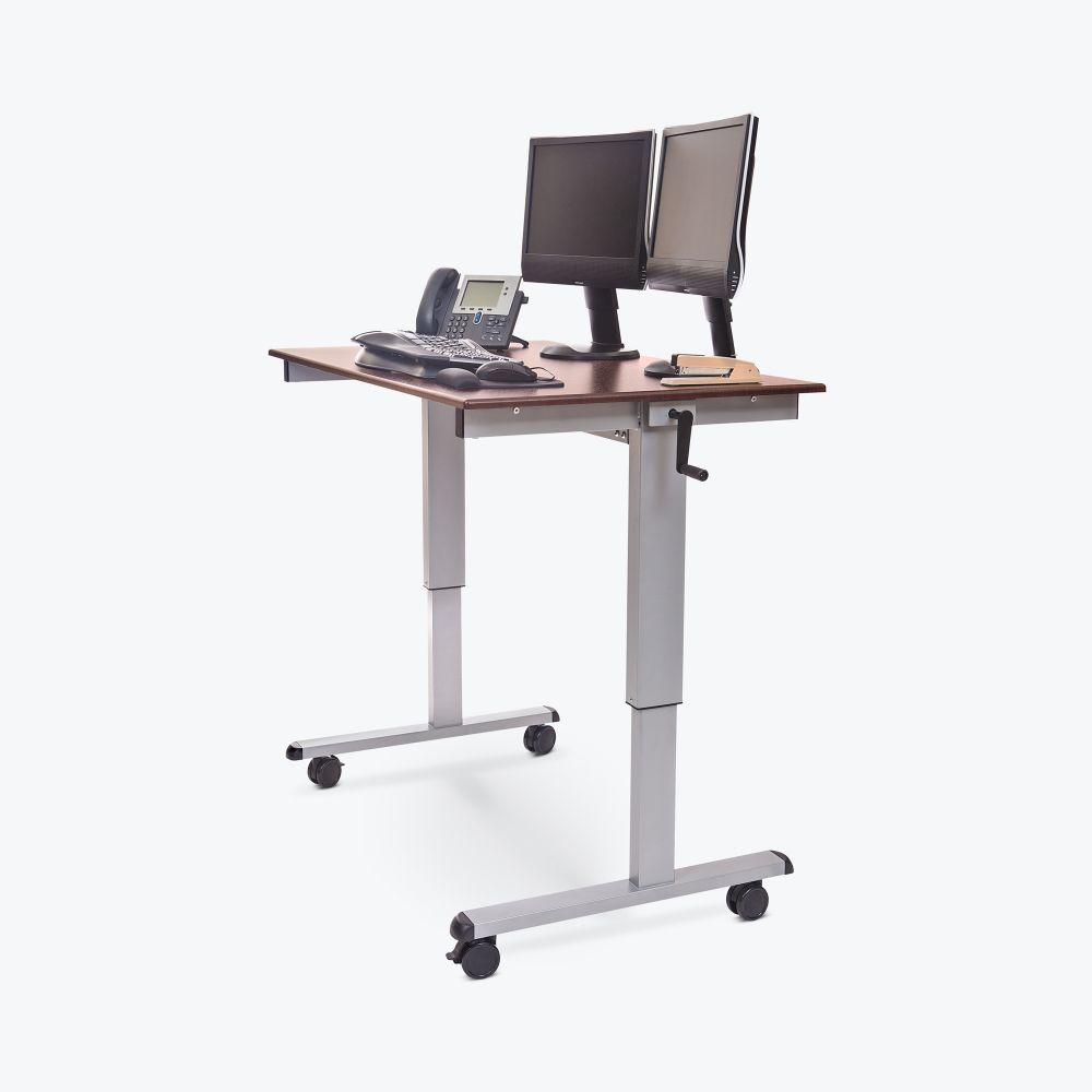 "60"" Wood Veneer Sit-Stand Office Desk w/ Wheels & Crank Adjustable"