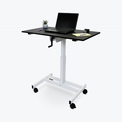 "40"" Single-Column Standing Office Desk w/ Wheels"
