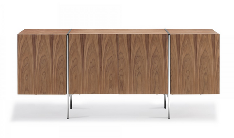 "71"" Modern Walnut Credenza with Polished Stainless Steel Legs"