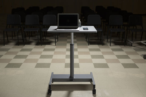 "Mobile Pneumatic Adjustable White 29"" Office Desk or Workstation"