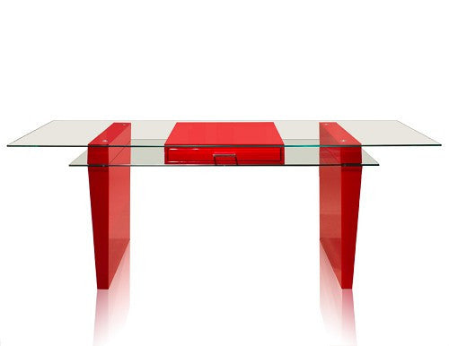 "79"" Modern Red Lacquer & Tempered Glass Executive Desk"