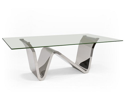 "Ultra Modern 84"" Glass Conference Table or Executive Desk with Chromed Stainless Base"