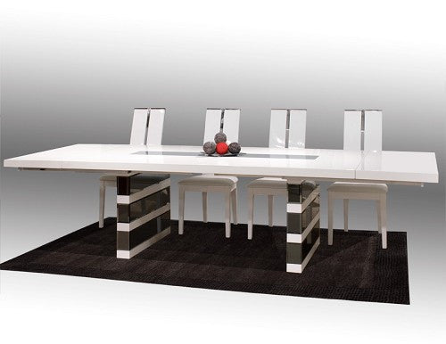 "White Lacquer Conference Table with Gray Mirrored Legs (Extends to 124"" W)"