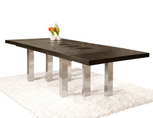 "Sleek Modern Wenge & Chrome Conference Table with Extension (from 87"" to 127"")"
