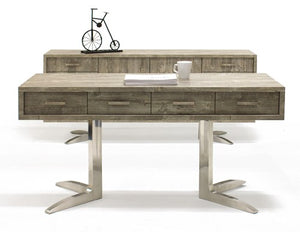 "Modern 75"" Rustic Gray Office Desk with V-shaped Stainless Legs"