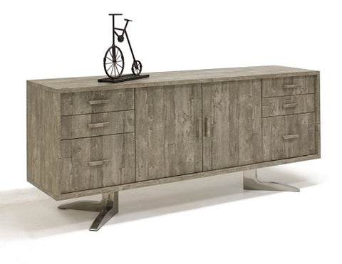 "Rustic Matte Gray 71"" Office Credenza with Two File Drawers"
