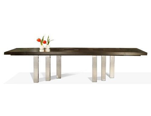 Sleek Modern Wenge & Chrome Conference Table with Extension (from 87