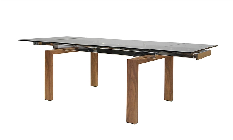 Modern Glass Conference Table or Desk with Walnut Veneer Legs