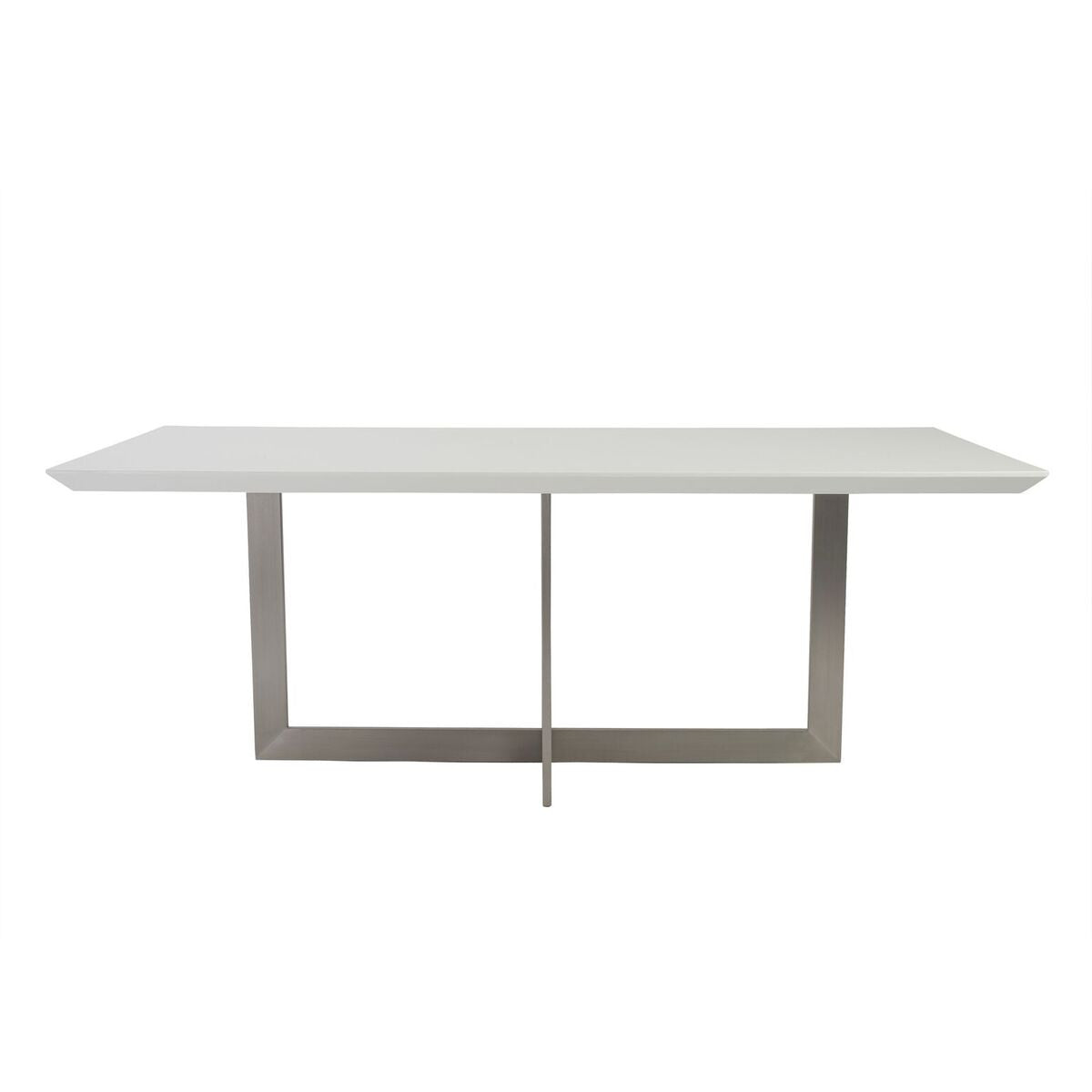 "White Lacquer & Brushed Stainless 79"" Conference / Meeeting Table"