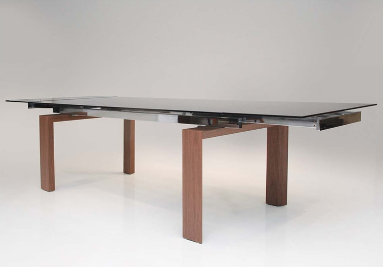 "82"" - 118"" Smoked Glass & Walnut Modern Conference Table"