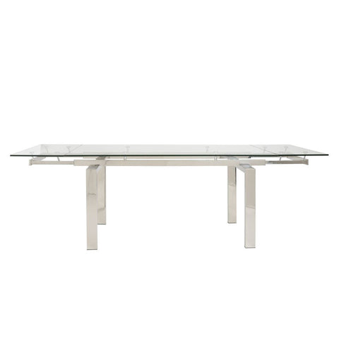 "Glass & Polished Stainless Desk or Conference Table (Extends from 63"" to 95"")"