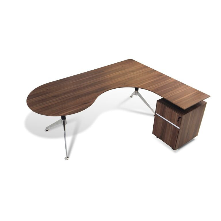 Teardrop L-shaped Walnut Executive Desk with Built in Locking File