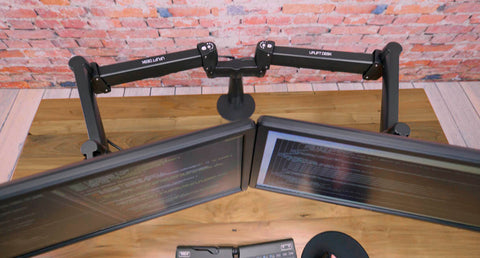 Dual Monitor Arm with Height, Depth, and Angle Adjustment