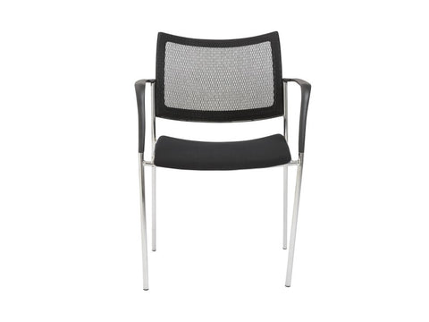 Black Visitor / Guest Chair with Mesh Back & Chrome Accents