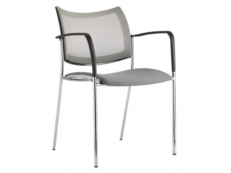 Gray Visitor / Guest Chair with Mesh Back & Chrome Accents