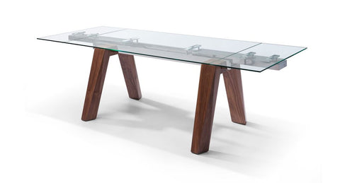 "Modern Glass Executive Desk or Conference Table with Solid Walnut Legs (Extends from 63"" W to 95"" W)"