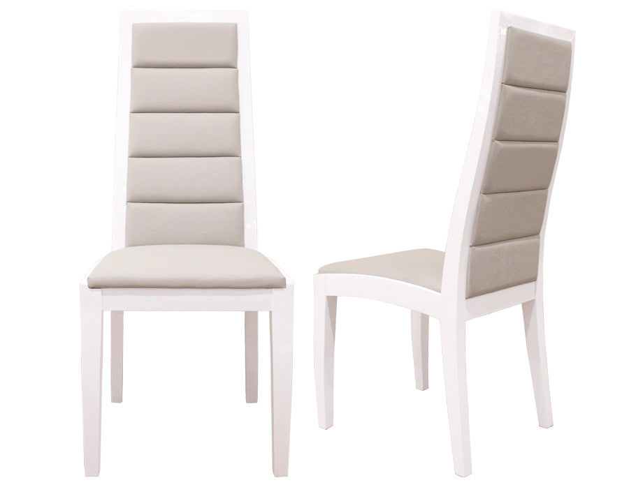 Modern White Lacquer & Gray Leather Conference Chair (Set of TWO)