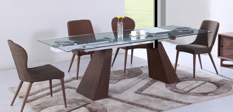"Modern Glass Conference Table, Angled Walnut Legs (Extends from 67"" - 102"" W)"