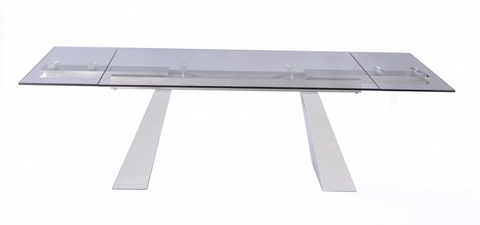 "Modern Glass Conference Table, Angled White Lacquer Legs (Extends from 67"" - 102"" W)"