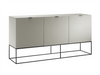 "71"" Modern Gray Lacquer Storage Credenza with Black Base"
