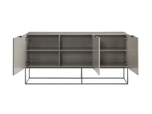 "Load image into Gallery viewer, 71"" Modern Gray Lacquer Storage Credenza with Black Base"