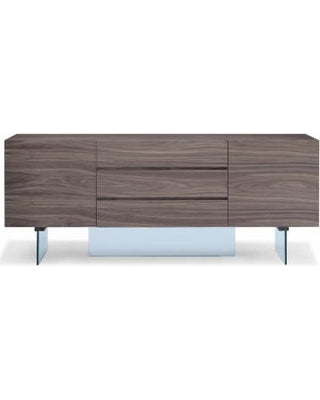 "Stunning 79"" Walnut Storage Credenza with Drawers and Glass Base"