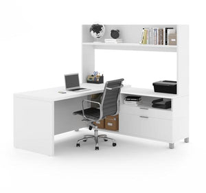 Spacious L-Shaped Office Desk with Hutch in White