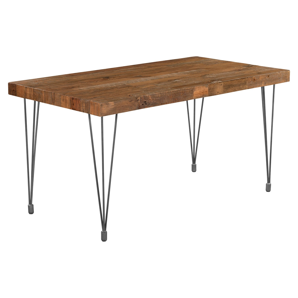 "Modern 59"" Recycled Pine Executive Desk with Iron Legs"