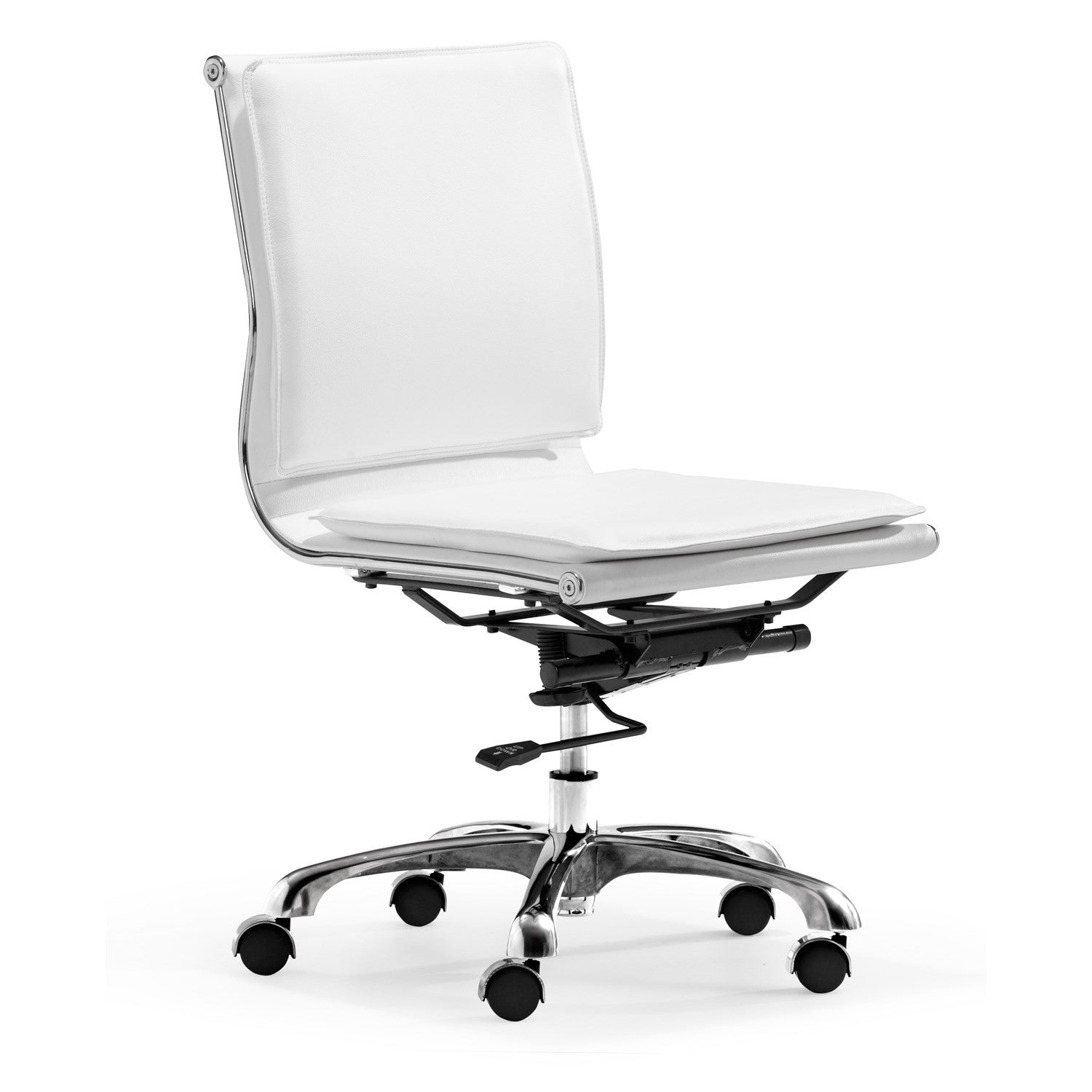 Modern Armless Office or Conference Chair in White