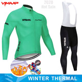 Winter Thermal Fleece 2020 STRAVA Cycling Jersey Long Set
